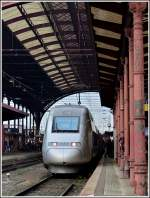 A TGV POS unit is waiting for passengers in the main station of Strasbourg on October 29th, 2011.