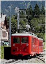 The little red train N° 41 is entering into the station of Chamonix Mont Blanc on August 3rd, 2008.