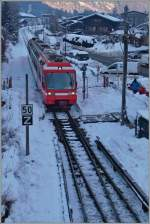 A SNCF TER is arriving at Chamonix Mont Blanc.
