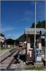 The SNCF Station Vallorcine with a train to Martingy in the background.