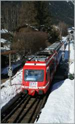 A local train is to St-Gervais les Bains-Le Fayet is arriving at Chamonix.
