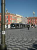 A tram on the beautiful Masséna Place.