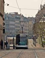 . Meeting of Bombardier Eurotram and Alstom Citadis tram on the Place Broglie in Strasbourg on October 30th, 2011.