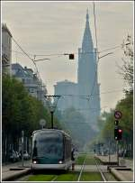 Eurotram pictured together with the cathedral in the Rue de la Paix in Strasbourg on October 30th, 2011.