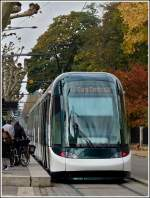 Citadis tram taken on the stop Université in Strasbourg on October 29th, 2011.
