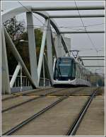 A Citadis tram is running over the Ill bridge in Strasbourg on October 29th, 2011.