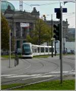 A Citadis tram is running on the Place de la République in Strasbourg on October 30th, 2011.