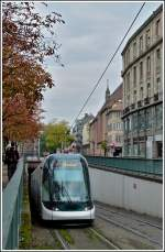 An Eurotram is arriving at the stop Ancienne Synagogue/Les Halles in Strasbourg on October 30th, 2011.
