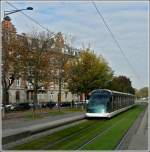 An Eurotram is running through the Avenue de la Paix in Strasbourg on October 30th, 2011.