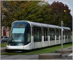 A Citadis tram taken in the Avenue de la Paix in Strasbourg on October 30th, 2011.