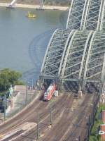 A ET 423 is driving on the Hohenzollernbridge on August 21st 2013.