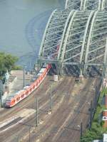 Two ET 423 is driving on the Hohenzollernbridge on August 21st 2013.