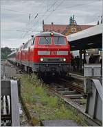 DB 218 423-2 and an other one with his EC from München to Zürich by his stop in Lindau HBF.