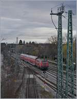 A DB V 218 with a RE to Aulendorf is leaving Lindau.