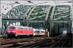 Two 218 engines are hauling a ICE 3 over the Hohenzollern Bridge in Cologne on November 20th, 2010.