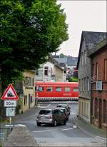 . A train is running through Runkel on May 26th, 2014.