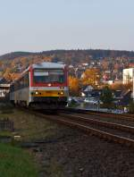 Diesel Multiple Unit 628677-7 / 928677-4 Daadetalbahn of the Westerwaldbahn (WEBA), on 31.10.2011, travel from Betzdorf / Sieg to Daaden.
