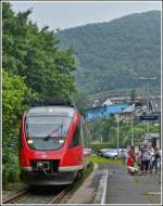 A local train to Bonn main station is arriving in Altenahr on July 28th, 2012.
