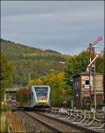 A Stadler GTW 2/6 of the Hellertalbahn is leaving the station of Herdorf on October 12th, 2012.