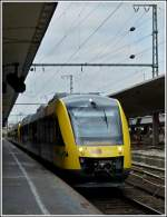 HLB VT 278.2 is entering with 2 other units into the main station of Münster (Westfalen) on September 27th, 2011.
