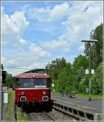 The heritage Uerdinger railcar 796 784-7 is leaving the station of Daun on its way from Gerolstein to Kaisersesch on the beautiful treck  Eifelquerbahn  on June 6th, 2010.