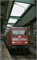 The DB 101 083-4 in Stuttgart Main Station.