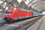 On 9 May 2016 DB 101 071 takes over an EC service at Dresden Hbf.