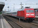 Electric engine type 101 hauling a EuroCity train of DB in Köln Messe/Deutz on 14th May 2016.