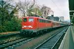 On 13 April 2001 DB 110 251 leaves Koblenz Hbf.