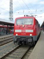 111 075 is standing in Nuremeberg main station on August 18th 2013.