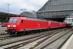 DB 145 015 with a loco train passes through Bremen Hbf on 27 April 2016.