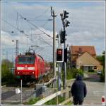 A local train from Hannover is arriving in Norddeich Mole on May 11th, 2012.