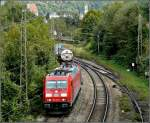 185 342-3 is hauling a goods train between Passau and the border to Austria on September 16th, 2010.