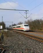 This photo shows the ICE-Highspeedtrain of the German Rail Company (DB AG) it is an mark II ICE on it's way from Mönchengladbach Centralstation to Berlin Eaststation at the station of Korschenbroich. Sunday 17th of february 2013