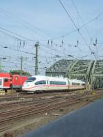 An ICE is driving between the main station and the Hohenzollernbridge in Cologne on August 22nd 2013.