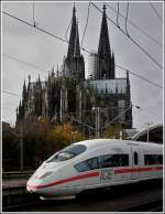 The ICE 4607  Hannover  taken in front of the monumental cathedral in Cologne on November 6th, 2007.
