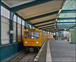 Metro train N° 755 is entering into the station Gleisdreieck in Berlin on December 29th, 2012.