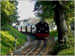 The Molli is leaving the station of Bad Doberan on September 25th, 2011.