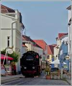 The Molli is running through the streets of Bad Doberan on September 25th, 2011.