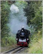 The RüBB steam locomotive 99 1784-0 will soon arrive at the station of Binz (LB) on September 22nd. 2011.