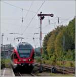A DB Flirt is entering into the station of Sassnitz on September 26th, 2011.