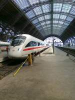 An ICE is standing in Leipzig main station on June 2nd 2011.