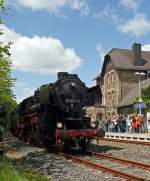 The 52 8134-0 of the railway friends Betzdorf in the station Ingelbach / Ww on 13.05.2012.