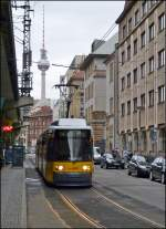 A tram is running through Georgenstraße in Berlin on December 25th, 2012.