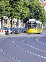 BVG Berlin Tram 2203 (Flexity) in Boxhagener Straße in Berlin-Friedrichshain. Date: 8 June 2019.