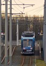 . Tram N° 0753 is arriving at the stop Sachsendamm in Braunschweig on January 4th, 2015.