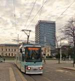 . Tram N° 9551 is arriving at the stop Friedrich-Wilhelm-Platz in Braunschweig on January 3rd, 2015.