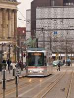 . Tram N° 9555 taken near the stop Rathaus in Braunschweig on January 3rd, 2015.