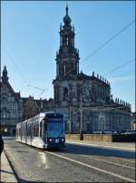 Tram N° 2636 is running over the Augustusbrücke in Dresden on December 28th, 2012.