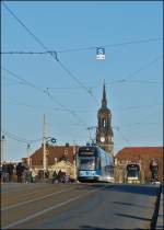 Two trams are meeting on Augustusbrücke in Dresden on December 28th, 2012.